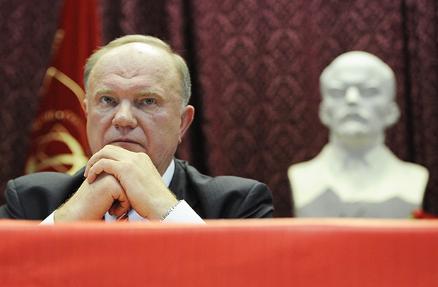 ITAR-TASS: MOSCOW REGION, RUSSIA. DECEMBER 18, 2011. Gennady Zyuganov, leader of the Communist Party of the Russian Federation (KPRF), looks on at the 14th congress of the party in Moskovsky town. (Photo ITAR-TASS/ Alexandra Mudrats) Россия. Московская область. 18 декабря. Лидер КПРФ Геннадий Зюганов на XIV съезде партии в городе Московский. Фото ИТАР-ТАСС/ Александра Мудрац